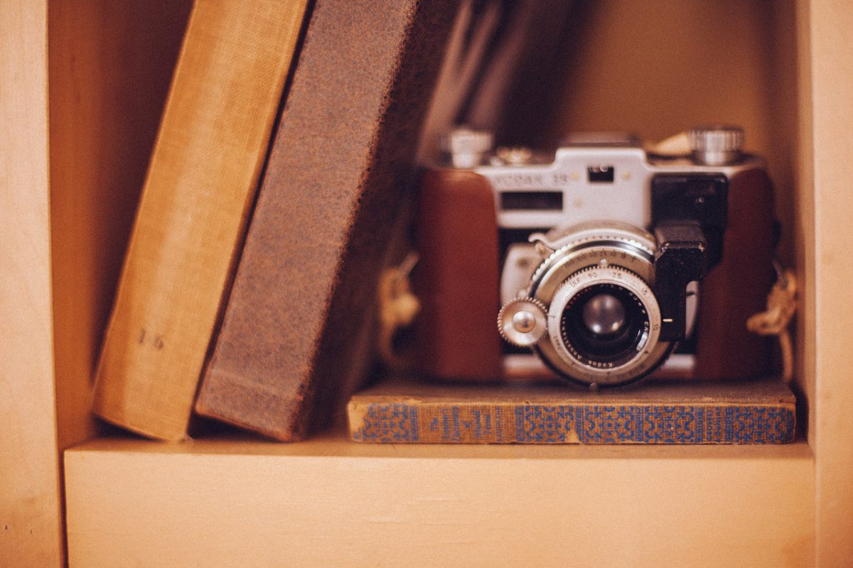 Camera on books